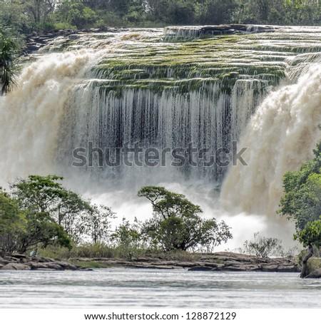 The Hacha falls in the lagoon of Canaima national park - Venezuela, Latin America - stock photo