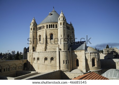 The Hadia Maria Sion Abbey.  Located on Mount Zion, Jerusalem, Israel.  It is a Benedictine Abbey also known as the Abbey of the Dormition of the Virgin Mary - stock photo