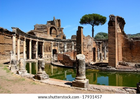 The Hadrian's Villa (Villa Adriana in Italian) is a large Roman archaeological complex at Tivoli, Italy. - stock photo