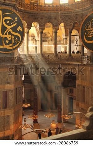 The Hagia Sophia (Ayasofya) interior, Istanbul, Turkey - stock photo