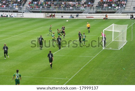 THE HAGUE, AUGUST 16, 2008: Soccer match at the ADO The Hague soccer stadium - stock photo