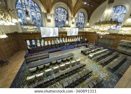 THE HAGUE, 16 December 2015: the International Court of Justice, principal judicial organ of the United Nations located at The Hague - stock photo