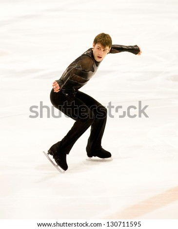 THE HAGUE - Feb 22: Brian Joubert of France performs his short program at the Challenge Cup, figure skating competition, held on February 22, 2013 in The Hague, the Netherlands - stock photo