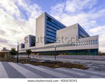 The Hague, Holland, December 26, 2016: Head office of Europol, organization for exchange and analysis of data for police forces in the European Union