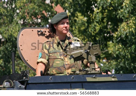 THE HAGUE, HOLLAND - JUNE 26: Female veteran in the annual parade on Veterans Day on June 26, 2010 in The Hague, Holland.