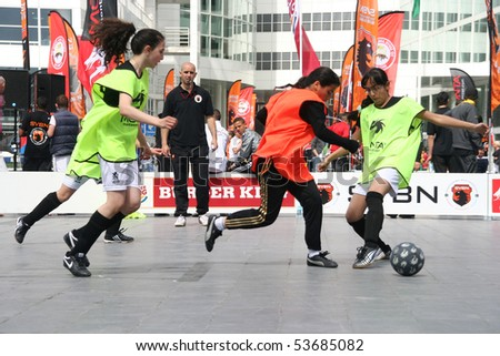 THE HAGUE, HOLLAND - MAY 22: Regional NSVB Street soccer finals in The Hague, Holland on May 22, 2010 - stock photo
