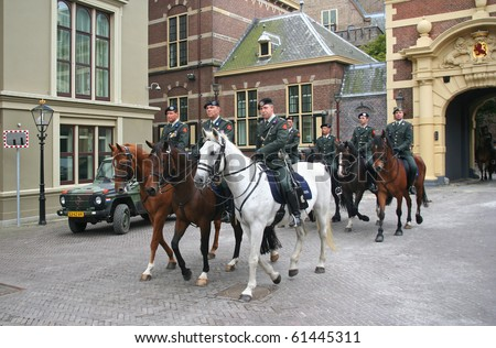 THE HAGUE, HOLLAND - SEPTEMBER 21: Military ceremony on the Binnenhof at Prinsjesdag (annual presentation of Government Policy to Parliament by the Queen) on September 21, 2010 in The Hague, Holland.