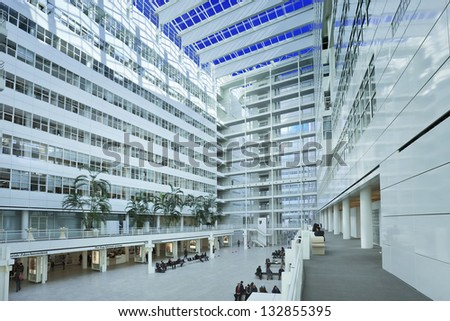 THE HAGUE-MARCH 18. The Hague City Hall atrium. Designed in 1986 by Richard Meier, completed in 1995. 4,500 sq. meter atrium flanked by two 10- and 12-storey buildings. The Hague, March 18, 2013. - stock photo