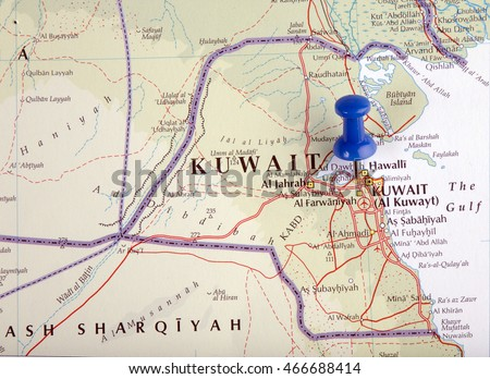 Hague Netherlandsaugust 10 2016 Map Kuwait Stock Photo 466688414