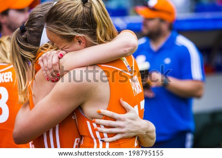 THE HAGUE, NETHERLANDS - JUNE 14 2014: Dutch team captain Maartje Paumen cant surpress her tears of joy after winning the world championships hockey 2014 - stock photo