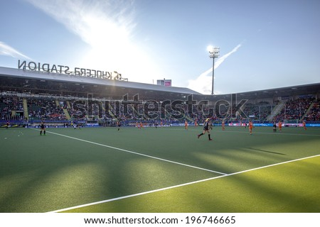 THE HAGUE, NETHERLANDS - JUNE 2: The Kyocera Stadium, home of soccer team ADO Den Haag is the venue for the World Cup Hockey 2014, taken during the match between Netherlands and Belgium (3-0)