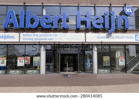 The Hague,netherlands-may 22, 2015: facade of an Albert Heijn store in The Hague, ah is the largest supermarket in the Netherlands