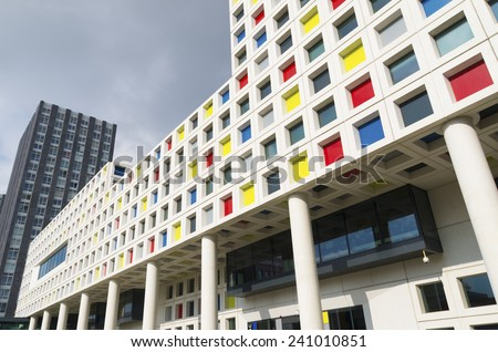 THE HAGUE, NETHERLANDS - SEPTEMBER 13, 2014: Modern school building exterior. The Mondriaan secondary school offers almost 200 training courses for 12 different professional sectors - stock photo