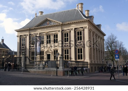 The Hague,The Netherlands-february 27,2015:The Mauritshuis  is a museum in The Hague with mostly paintings from the Golden Age. There also hang some masterpieces from the 18th century.