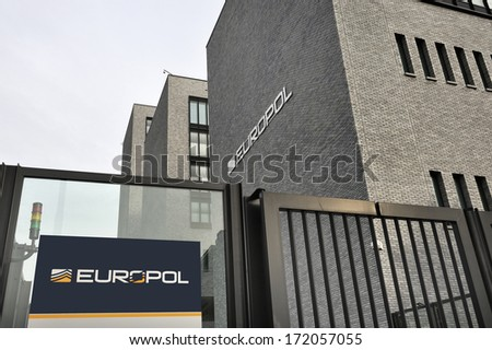 THE HAGUE, THE NETHERLANDS , JANUARY 18, 2014: Photo of the new Europol Headquarter in The Hague, Den Haag, with the Europol sign. January 18,2014 The Hague, The Netherlands - stock photo