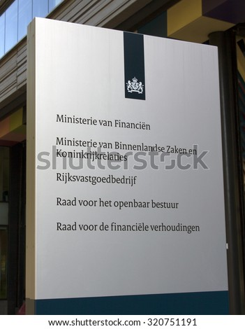 THe Hague , The Netherlands-september 26 , 2015: The Dutch Ministry of the Interior and Kingdom Relations and Ministry of Finance
