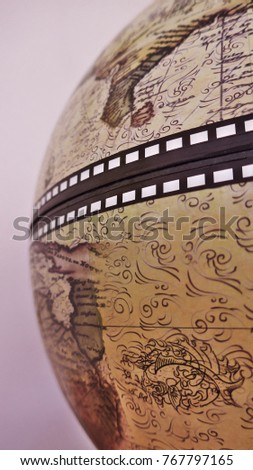 The half of antique globe. Macro photography.