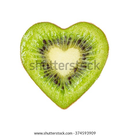 The half of the kiwi in the form of heart isolated on a white - stock photo