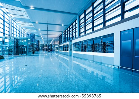 the hall of shanghai south railway station . - stock photo