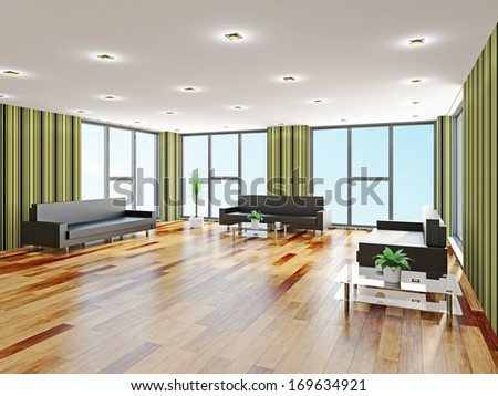 The hall with leather sofas near a window - stock photo