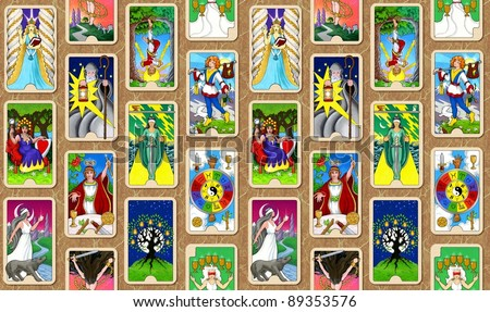 The Hallmark Tarot seamless wallpaper background. - stock photo