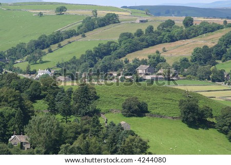 The Hamlet of Appletreewick nestles in a fold in the Yorkshire Dales National Park.