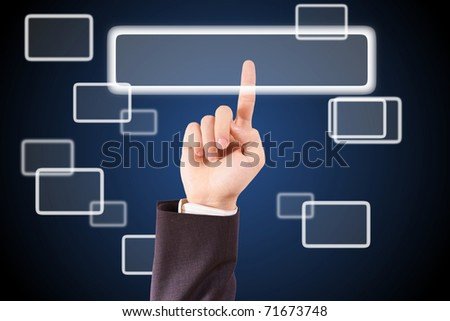 the hand clicking, the metaphor of choosing - stock photo