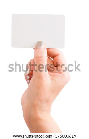 The hand holding a business card isolated