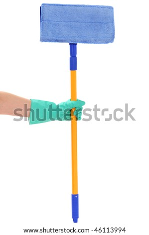 The hand holds a mop isolated on a white background