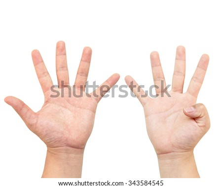 The hand holds a number nines or quantified. Mathematics Teaching Display or demonstration or tutorial. White background - stock photo