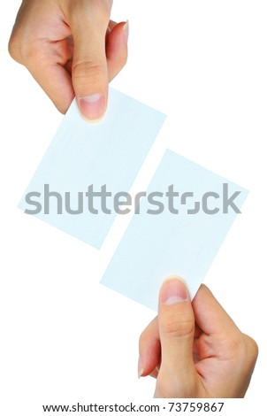 The hand is grasping the white empty name card - stock photo