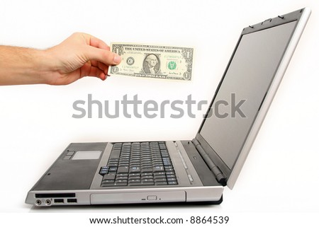 the hand is paying for shoping online - stock photo