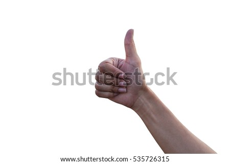 The hand is showing good on a white background