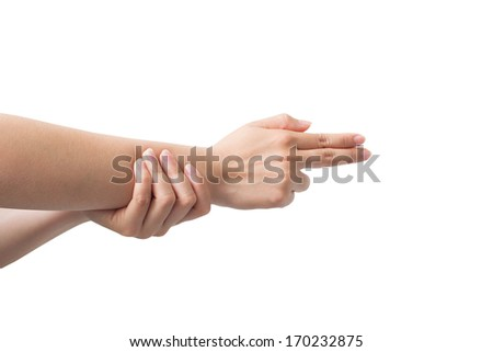 The hand motions Shooting Isolated on white background - stock photo