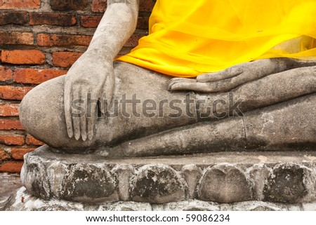 The hand of buddha .  Old temple in Ayutthaya  city from Thailand.