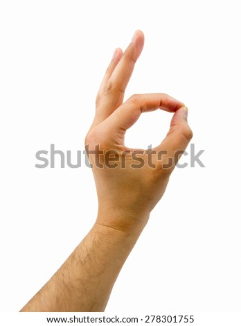 the hand of man gesturing OK on white background - stock photo