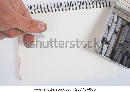the hand of the artist - stock photo