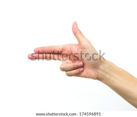 The hand of the man isolated on a white background. - stock photo