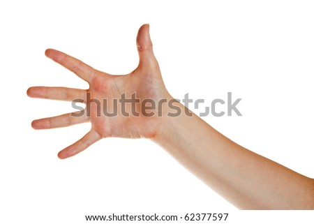 The hand of the young woman located on a white background - stock photo