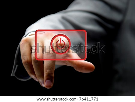 the hand on the flow of  button - stock photo