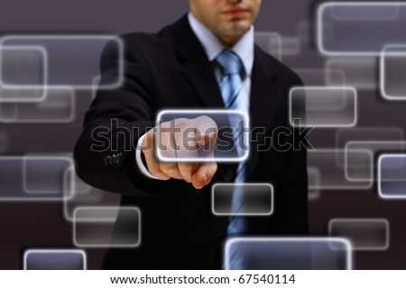 the hand on the flow of several button - stock photo