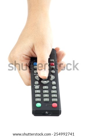 The hand operate remote control for TV. - stock photo
