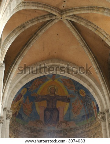The hand painted ceiling of the Kaiserdom in Bamberg, Germany. - stock photo