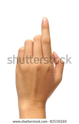 The hand pointing is on the white background - stock photo