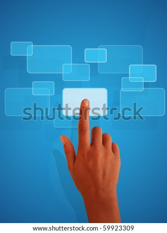 The hand presses the button - stock photo