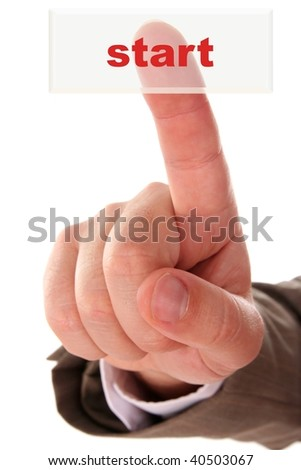 The hand pressing a button - stock photo