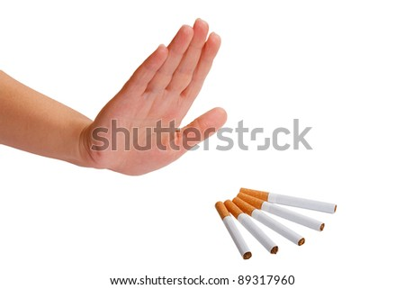 The hand rejects cigarette. Stop smoking. - stock photo
