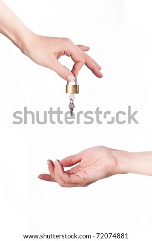 The hand throws a key in other hand