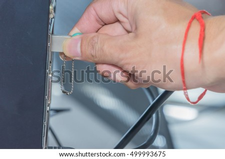 The hand use flash drive  connect to computer.