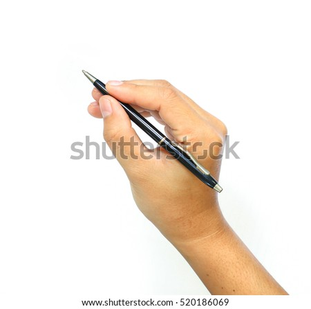 The Hand with pen on the white background. isolated Hand with pen write